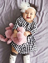 Girl's Cotton Sweet European And American Fashion Fan After Fhe Found Collar Sipper Tartan Dress With Short Sleeves