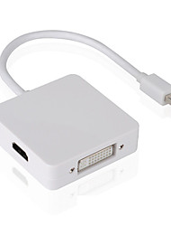 3 en 1 mini DP de DisplayPort a DVI VGA HDMI cable adaptador convertidor para iMac Mac mini Book Pro de aire para controlar la TV