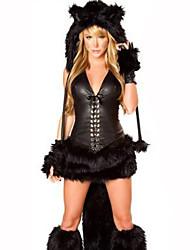 Costumes de Cosplay Animal Fête / Célébration Déguisement d'Halloween Noir Couleur Pleine Carnaval Féminin Coton