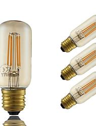 4W E26/E27 Ampoules à Filament LED T 4 COB 350 lm Ambre Gradable Décorative AC 100-240 V 4 pièces