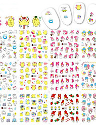 1pcs 12Design Nail Art Cute Water Transfer Decals Colorful Lovely Cartoon Chick Rabbit Design Nail Art Sticker Nail Art Beauty Tips A1345-1356
