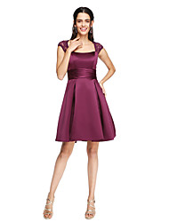 A-Line Square Neck Knee Length Lace Satin Bridesmaid Dress with Sash / Ribbon Ruching Pleats by LAN TING BRIDE®