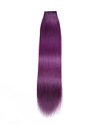 20PCS Tape In Hair Extensions Purple  40g 16Inch 20Inch 100% Human Hair For Women