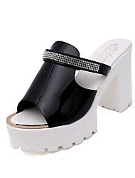 Damen-Sandalen-Lässig-Lackleder-Blockabsatz-Komfort