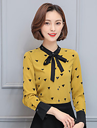 Shirt female 2017 spring new Korean yards was thin ladies printed long-sleeved chiffon blouses