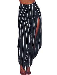 Black White Stripe Open Wide Leg Beach Pants