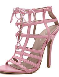 sapatos clube sandálias de verão de microfibra vestido de salto agulha lace-up