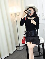 signer 2017 nouveau panicule korean écharpe pull à col roulé avec PU jupe en cuir tailleur jupe buste