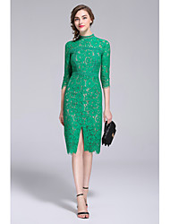 MMLJ Going out Formal Sexy Lace DressEmbroidered Crew Neck Knee-length  Length Sleeve Cotton Polyester Green Spring Summer Mid Rise Inelastic