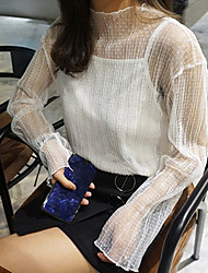 Korea sexy gauze hollow lace shirt blouse loose long-sleeved two-piece autumn lady bottoming shirt Perspective