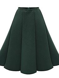 Damen Röcke,A-Linie einfarbigAusgehen Einfach Mittlere Hüfthöhe Knielänge Reisverschluss Polyester Unelastisch All Seasons