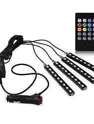 carro rgb levou faixa de controle música luz LED tira luzes 8 cores carro styling atmosfera lâmpadas de luz interior do carro com 12v