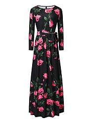 Going out Casual/Daily Beach Vintage Simple Boho Swing Dress,Floral Bow Flower Round Neck Maxi ¾ Sleeve Polyester Black Spring SummerMid