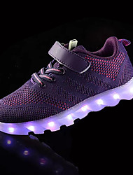 Boy's Flats Spring Fall Light Up Shoes Tulle Outdoor Casual Flat Heel Purple Navy Blue Royal Blue Walking
