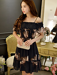 DABUWAWA Women's Off The Shoulder Going out Casual/Daily Holiday Sexy Boho Sophisticated Sheath Little Black Chiffon DressFloral Strap Above Knee