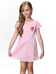 Girl's Cotton Fashion Europe And The United States Princess Wave Point Lace Dress
