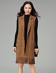 sinal 2017 moda primavera produtos europeus na seção longa sem mangas colete cintura borla casaco de camurça feminino