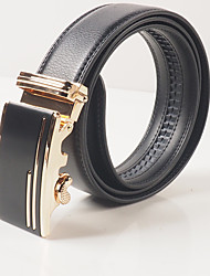 Men's casual fashion black leather automatic belt buckle black gold agio glory and honor with the body is about 3.6 cm wide