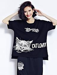 знак 2017 года большой ярдов жира мм летние рубашки плюс удобрения для увеличения хлопка с короткими рукавами кошка