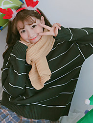 знак корейской зимой высокий воротник нижнего дикий полосатый свитер толстый свитер пассивом ретро свободный фундамент