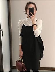 costura primavera corea nuevo nicho de estilo elegante con volantes vestido del arnés
