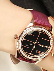 Fashion Watch Quartz Leather Band Casual Red