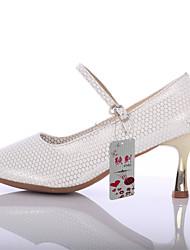 Obyčejné-Dámské-Taneční boty-Latina-Koženka-Na zakázku-Stříbrná Zlatá