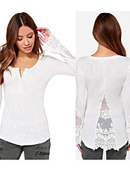 surpiqûres de fil net tricot t-shirt mince chemise chemise creux dentelle fente machaon