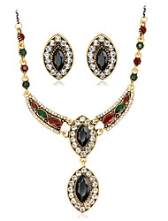 Jewelry Set Gemstone Resin Rhinestone Gold Plated Simulated Diamond Alloy Vintage Bohemian Jewelry Black Red Green Jewelry setParty