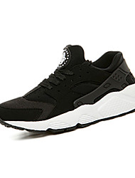 Men's Athletic Shoes Spring Fall Couple Shoes Fabric Casual Flat Heel Lace-up Black Black/White