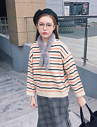 Sign Han Guoguan network ladies hit the color stripes wild College Wind long-sleeved pullover sweater