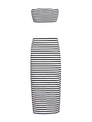 Women's Going out Casual/Daily Beach Sexy Vintage Simple Bodycon Dress,Striped Strapless Maxi Sleeveless White Polyester Spring SummerMid