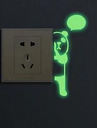 Cartoon Panda Luminous Light Switch Stickers Vinyl Material Home Decoration