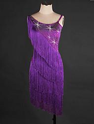 Latin Dance Dresses Women's Performance Spandex Organza Tassel(s) 1 Piece Sleeveless Dress