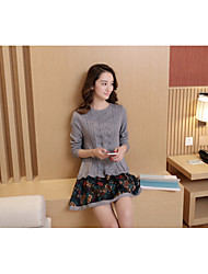 unterzeichnen Frauen neue Sicherungsrundhals Pullover und lange Pullover Kleid Hohlsaum