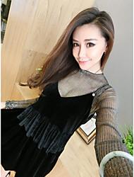 мы подписываем новый зимней моды кусок корейская рубашку с длинными рукавами + бронзируя бархат костюм женское платье
