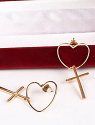 Stud Earrings Love Simple Style Alloy Heart Star Cross Jewelry For Daily Casual 1 pair