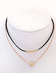 Choker Necklaces Jewelry Daily Round Tube Fashion Double-layer Alloy Resin Women 1pc Gift Gold