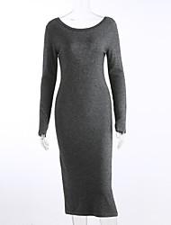 Damen Lang Pullover-Urlaub Ausgehen Party/Cocktail Retro Street Schick Anspruchsvoll Solide Schwarz Grau Rundhalsausschnitt Langarm