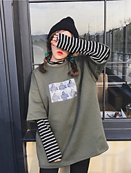 Sign ~ 2017 spring Korean Harajuku style loose stitching hedging fake two striped long-sleeved sweater