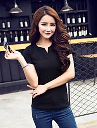 2016 Sommer neue V-Neck T-Shirt Größe Frauen wilde Normallack T-Shirt Kurzhülse T-Shirt der koreanischen Gezeiten grundiert