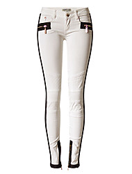 Women's Straight Jeans Pants,Going out Party/Cocktail Vintage Color Block Patchwork High Rise Zipper Cotton Micro-elastic All Seasons