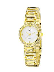 Relógio de Moda Simulado Diamante Relógio Quartzo Lega Banda Casual Luxuoso Dourada