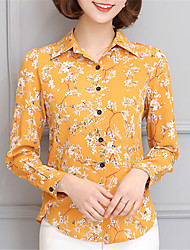 Fashion Lapel Long Sleeves Chiffon Printing Upper Outer Garment Daily Leisure Party Dating Occupation OL Shirt