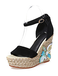 Women's Sandals Spring Summer Fall Club Shoes Cowhide Office & Career Party & Evening Dress Wedge Heel Buckle Flower Black Green