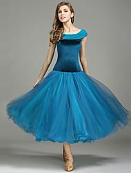 Danse de Salon Robes Femme Spectacle Tulle Velours Plissé 1 Pièce Sans manche Taille moyenne Robe