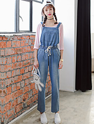 Sign good quality drawstring elastic waist loose denim overalls wide leg jeans College Wind