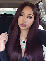 Sale Price Brown Lace Cap Dark Wine 99j Human Hair Straight Ombre Pre Plucked Lace Front Wigs With Baby Hair Wholesale For Black Women In Stock