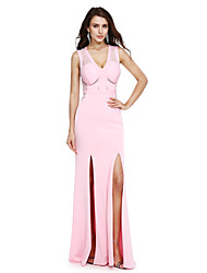 TS Couture Formal Evening Dress - Furcal Sheath / Column V-neck Floor-length Jersey with Lace Sash / Ribbon Split Front