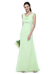 2017 Lanting Bride® Floor-length Chiffon Elegant Bridesmaid Dress - A-line V-neck with Beading Pleats